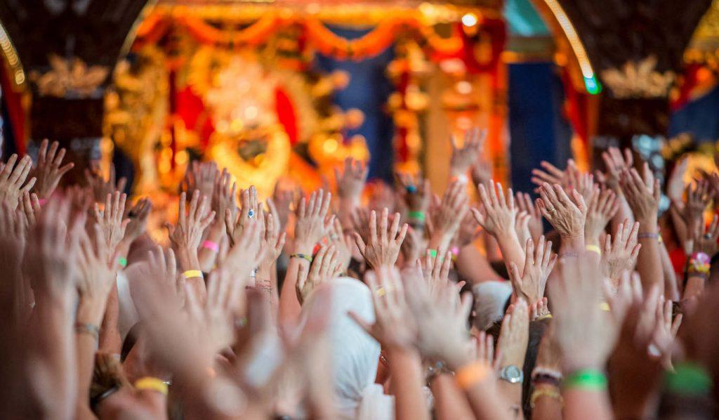 Devotional temple worship at Bhakti Marga ashram