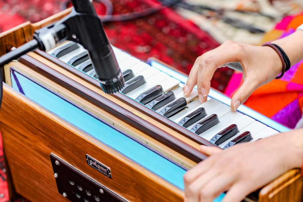 Harmonium being played in music festival