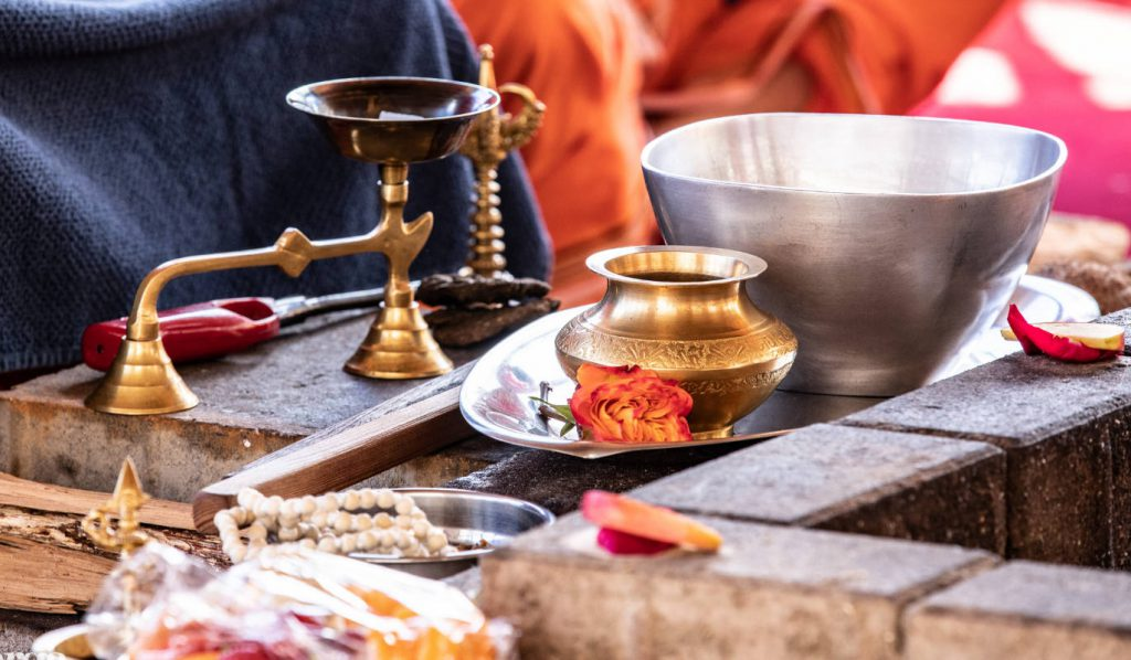 Puja items for Yagna fire ceremony